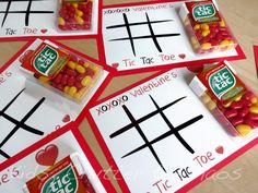 Pass out Tic Tacs and tic-tac-toe boards to engage kids during a Valentine's Day party.