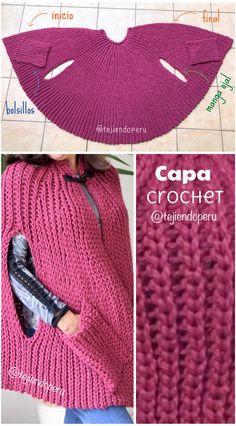 Paso a paso en vídeo tutorial: Capa con manga ojal y bolsillos tejida a en punto imitación elástico tricot Crochet Cape, Knitted Cape, Crochet Jacket, Crochet Beanie, Knitted Shawls, Crochet Shawl, Diy Crochet, Crochet Stitches, Knitting Patterns