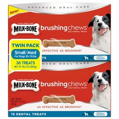 Milk-Bone Brushing Chews, Small/Medium Twin Pack (36 Bones, 28.3 oz.) >> You can get additional details, click the image : Dog treats