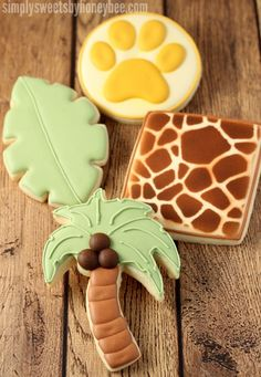 Safari Cookies | Simply Sweets by Honeybee Summer Cookies, Cookies For Kids, Fancy Cookies, Cut Out Cookies, Iced Cookies, Cute Cookies, Cupcake Cookies, Cupcakes, Safari Baby Shower Cake