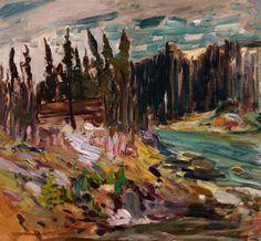 Rene Richard - River Landscape 23 x 25 Oil on board Canadian Painters, Oil Paintings, River, Landscape, Board, Scenery, Landscape Paintings, Oil On Canvas, Sign