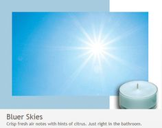 Bluer Skies: Just right in the bathroom.  Crisp, fresh notes with hints of citrus.