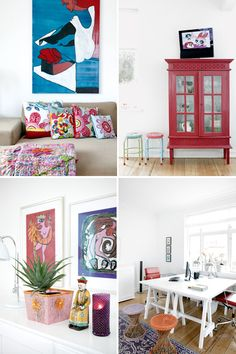 """""""I wonder if any element of interior design is more personal than color? These are easy tips to add color without painting your space. Scandinavian Pattern, Scandinavian Interior Design, Scandinavian Home, Red Cabinets, Accent Colors, Home Decor Inspiration, Home Furniture, Diy Home Decor, Interior Decorating"""