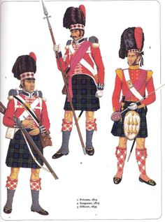 The Black Watch, Figures 1 and 2 from 1815, figure 3 is out of period (1835)