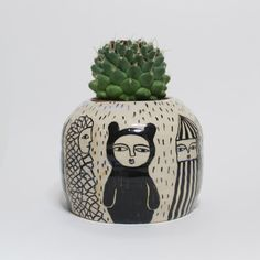 Creatures Traveling from faraway - Ceramic Pot by KinskaShop