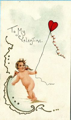 G2169 Signed HBG, Griggs postcard, Cupid with Valentines Day Kite, L&E, used