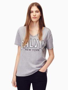 2f38d7956 Calvin Klein flocked logo v-neck t-shirt Sophisticated Style, V Neck Tee