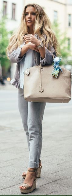 Thanks #spring #summer #street #style #outfitideas | Cool Neutrals |Molly Rustas