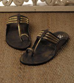 Black Golden Kolhapuri Leather Chappals