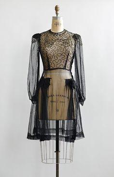 Vintage 1930s black sheer scroll appliqué bodice dress