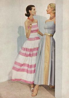 Vintage Glamour, 1956...I want that pink striped dress!