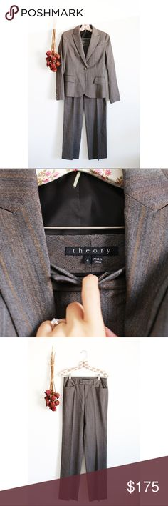 Theory pants suit set! Amazing Theory suit complete with slacks and blazer. Superior tailoring, amazing fit and condition! Both size 4. Theory Jackets & Coats Blazers