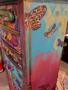 Bohemian Painted Chest Of Drawers Redesignwithprima Transfer Hand Painted Bohemian Chest Of Drawers Funky Painted Furniture, Bohemian Furniture, Solid Wood Furniture, Paint Furniture, Repurposed Furniture, Furniture Makeover, Bedroom Furniture, Furniture Design, Bedroom Chest