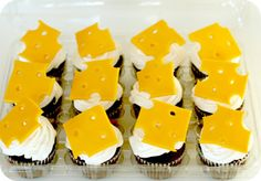 Cheese fondant toppers on cupcakes for #Diary of a Wimpy Kid Party from Keeping My Cents ¢¢¢