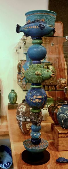 Totem | FoxLo Pottery | April 2014 Fish Exhibition | Amphora Gallery | Cambria, CA