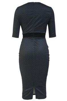 Her Stylish Slim Fitted Half Sleeve Flattering Print Black Midi Dress