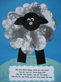 a faithful attempt: Baa Baa Black Sheep Collage Craft—bubble printing Rhyming Preschool, Rhyming Activities, Farm Activities, Preschool Crafts, Toddler Crafts, Phonics, Nursery Rhyme Crafts, Nursery Rhymes Preschool, Nursery Rhyme Theme