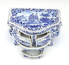 Delft Pottery Box Miniature Cabinet working Drawers, Hand painted 19th century