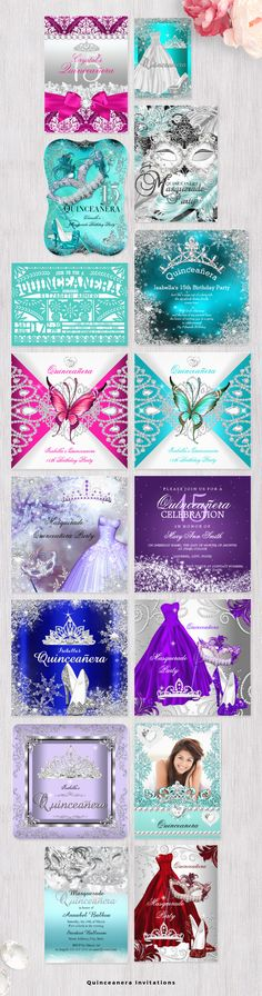 Quinceanera Invitations with easy to edit templates to create your own elegant invites for your Birthday. Quince Invitations, Quinceanera Invitations, Elegant Invitations, Birthday Invitations, Wedding Invitations, Sweet 15 Invitations, Invitation Wording, Quinceanera Planning, Quinceanera Party