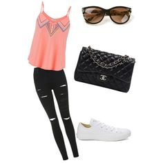Tenue by chouquette-oreo on Polyvore featuring polyvore, beauté, Thierry Lasry, Chanel, maurices, Topshop and Converse
