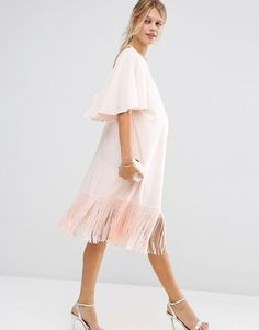 Image 4 ofASOS Maternity T-Shirt Dress With Fringe Hem And Flutter Sleeve