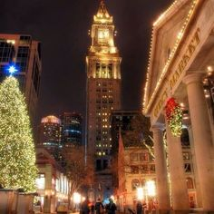 Quincy Market Building, Custom House and Faneuil Hall Christmas Tree - don't miss it!