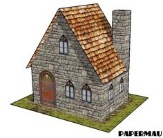PAPERMAU: A Simple Stone House Paper Model - by Papermau - Download Now!