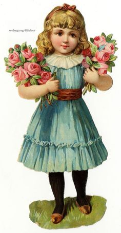 Victorian Scrap — Girl with Roses, c.1876 (518×1000)