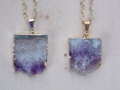 Raw Amethyst Necklace on Gold Filled Chain, Amethyst Slice Necklace, Amethyst Slice Pendant, Amethyst, Amethyst Jewelry, Amethyst Geode by MalieCreations on Etsy
