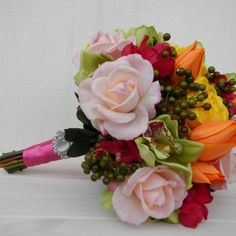A variety of Spring Blooms arranged in   an informal Bouquet.