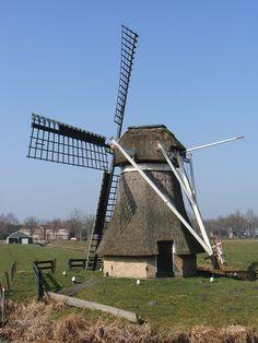 Polder mill Molen De Mûnts, Buitenpost, The Netherlands
