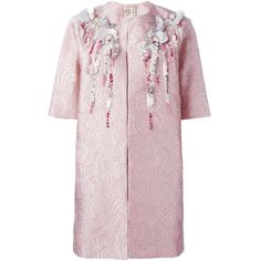 Antonio Marras Shortsleeved Embellished Coat ($2,453) found on Polyvore featuring women's fashion, outerwear, coats, antonio marras, embellished coat, short sleeve coat and pink coat