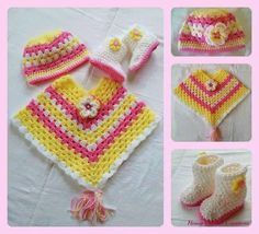 Poncho infant crochet. - Free Patterns