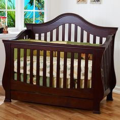 Million Dollar Baby Ashbury 4-in-1 Sleigh Convertible Crib with Toddler Rail in Espresso