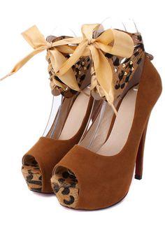 Estilos Europea Peep Toe Round Bow Tie embellecido altos talones del estilete del ante de Brown Bombas Básicos | martofchina.com-Página en caché