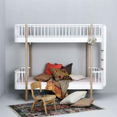 Oliver Furniture   Etagenbett Aus Der Wood Collection In Eiche/weiß, Leiter  Am Kopfteil
