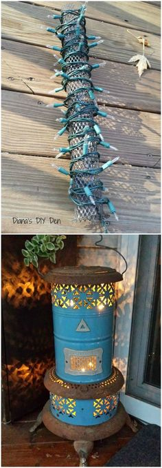 Repurpose a vintage heater into a lantern! The minute I saw this old heater at a yard sale I knew it needed to come home with me ~ love the color, the rust and the fancy cut outs and I knew exactly what I wanted to do with it...