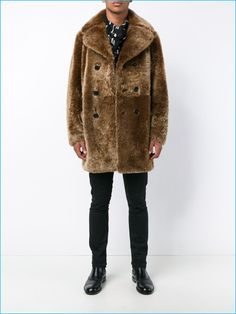 Saint Laurent Men's Shearling Peacoat