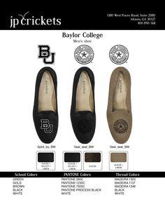 Men's Baylor College logo loafers in Black Suede or Natural Linen.  www.jpcrickets.com