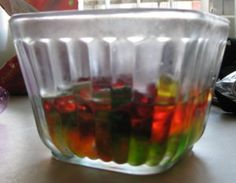 Vodka Gummy Bears – Mix That Drink  When you soak gummy bears in vodka, they absorb the alcohol and turn into a yummy fruity treat with a kick. The how-to part of this is pretty simple, so I decided to make things a little more interesting. In addition to regular vodka gummy bears, I infused vodka into sugar-free gummy bears, gummy worms (purely to see if they turned out any cooler looking than the bears) and Red Fish (these were disgusting, but in the interest of science I will... #vodka