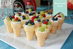 cute idea- fruit served in ice cream cones. Must do!!