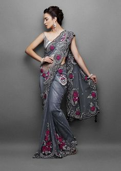 The pink roses on the resham embroidery of the border just adds glitters to its beauty.