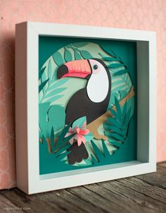 DIY Framed Toucan Wall Art- Framed Papercut Toucan Source by - Paper Wall Art, Paper Artwork, Paper Room Decor, Diy Wall Painting, Diy Wall Art, Diy Framed Art, Monogram Wall Art, Diy Wand, Paper Cutting