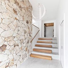 Entry Stairs, House Stairs, Facade House, House Front, My House, Concrete Stairs, Stone Stairs, Stone Walls, Timber Stair