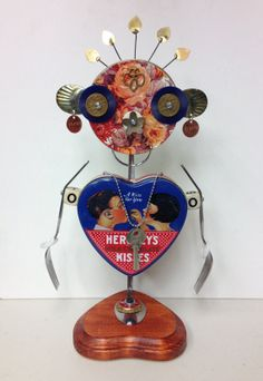 """Found Object Robot """"Valentine"""" Sculpture - Junk Art - Valentine's Day Gift"""