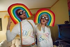 Double rainbow costumes! Hmmmm... I wonder if my husband would go for this?!