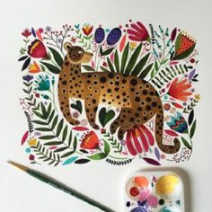 Colorful animal paintings by Chilean illustrator Maya Hanisch. Colorful Animal Paintings, Guache, Painting & Drawing, Watercolor Art, Maya, Art For Kids, Folk Art, Art Projects, Illustration Art