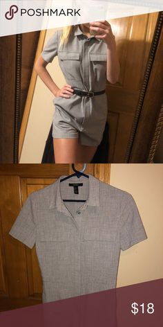 59039429a404 Grey button up romper Paired super well with my sweater listed after this.  Too big