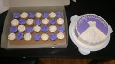 Bridal shower cake and cupcakes purple and white