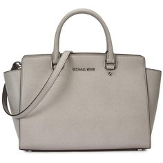 Womens Tote Bags Michael Kors Selma Large Light Grey Leather Tote ($510) ❤ liked on Polyvore